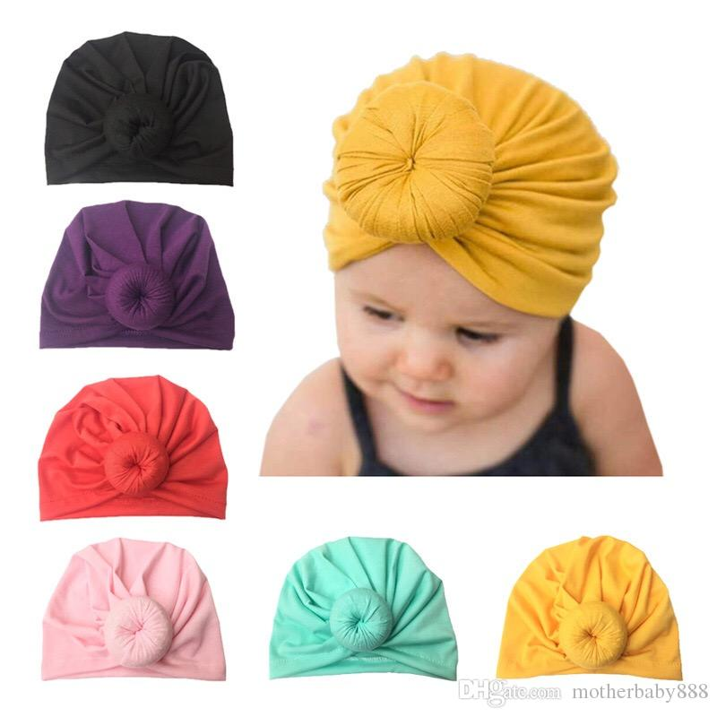 Fashion Cute Infant Baby Kids Toddler Children Unisex Ball Knot Indian Turban Colorful Spring Cute Baby Donut Hat terylene girl Hair band