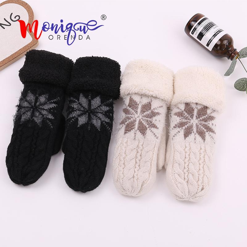 Elegant Women Gloves Snowflake Flowers Pattern Mittens Winter Female Wool Plus Velvet Thicken Warm Fingerless Gloves Luvas