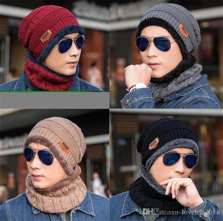 Hut Schal Set Winter-Strickmütze mit Maske Hood Mützen Herren Schal Caps Maske Bonnet Warm Winter Ski Kappen-Weihnachtsgeschenk T394