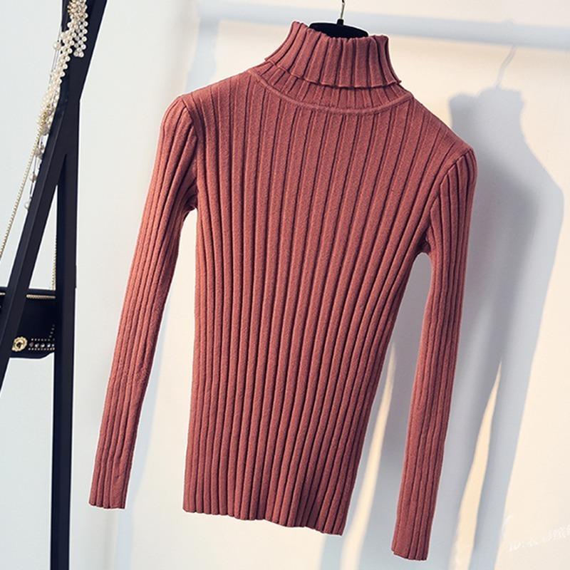 2019 Suéter suave para mujer Cuello alto Suéter y jersey de patrón fino Tricot Pull Femme Tops Jerséis