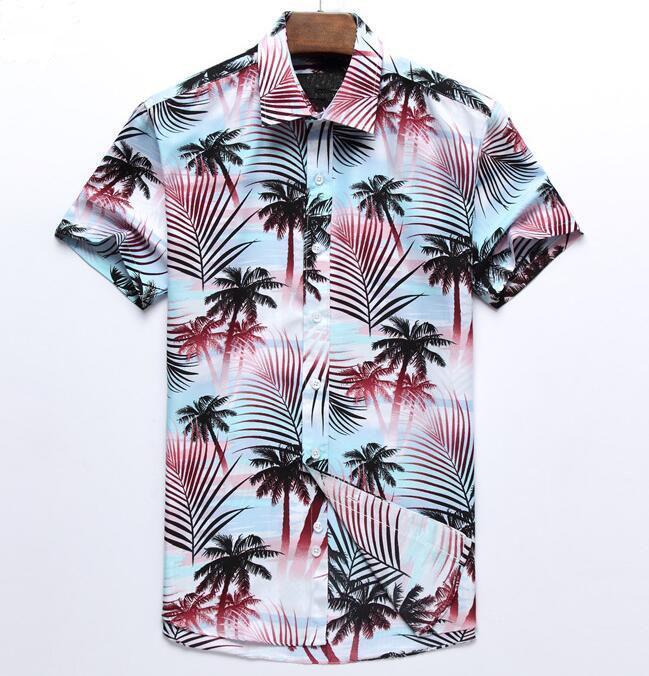 شاطئ الصيف قميص رجالي بو العلامة التجارية قصيرة الأكمام زائد حجم قمصان الزهور الرجال عادية عطلة عطلة الملابس زائد الحجم
