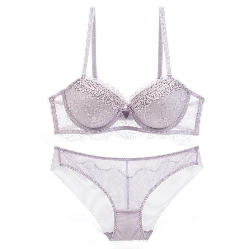 Sutiãs de algodão fino empurrar para cima mulheres Lingerie rosa sutiã Sexy Set Bra + PantiesLace Underwear Set sutiã bordado
