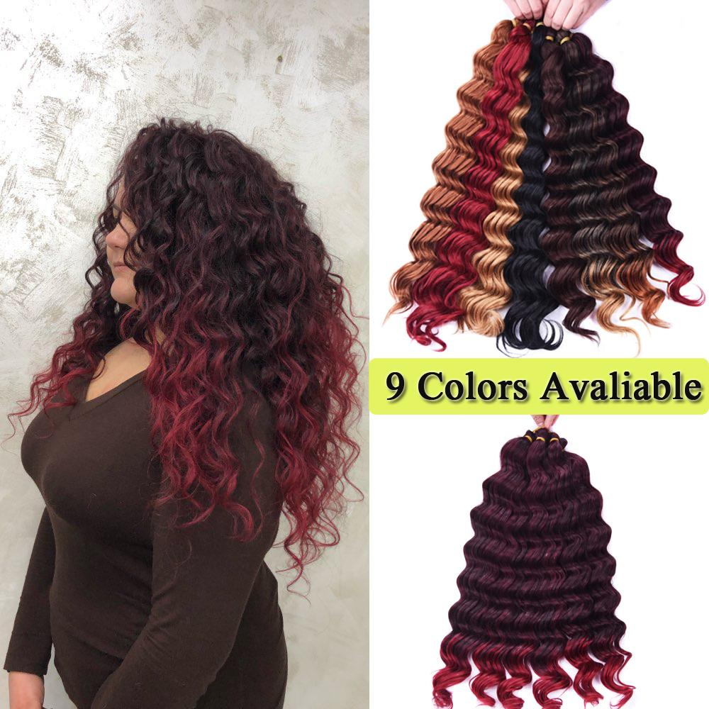 22Inch Dark Blonde Synthetic Ombre Braiding Hair Extensions Water Wave Deep Crochet Braids Hair Bundles 80g/Piece Synthetic Braided Crochet