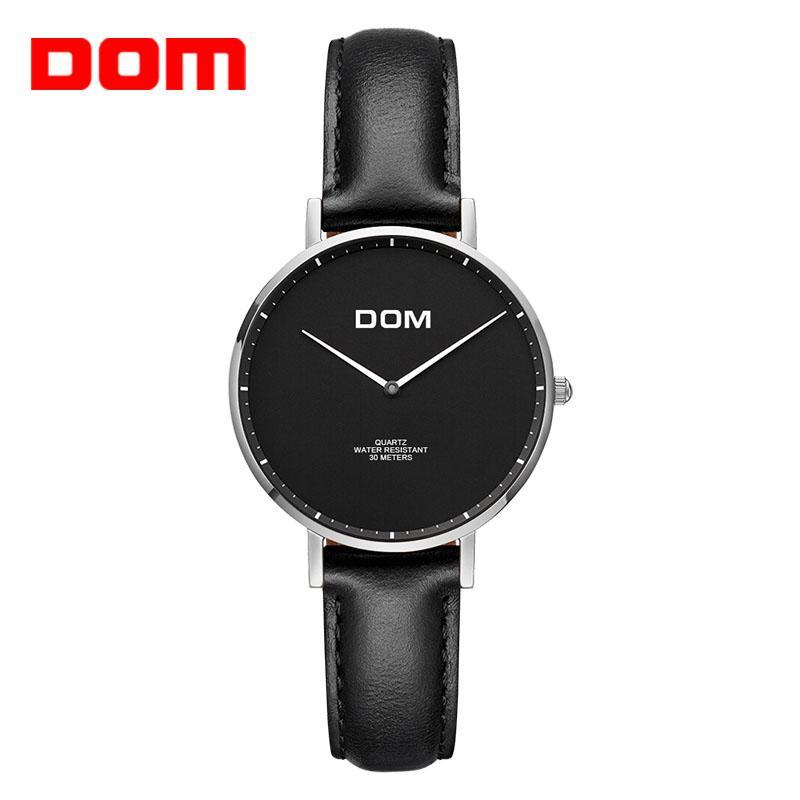 DOM Mulheres Relógios New Top Marca de luxo Casua simples quartzo relógio couro Strap Lady relógio para senhora Relogi Feminino G-36L-2 MS