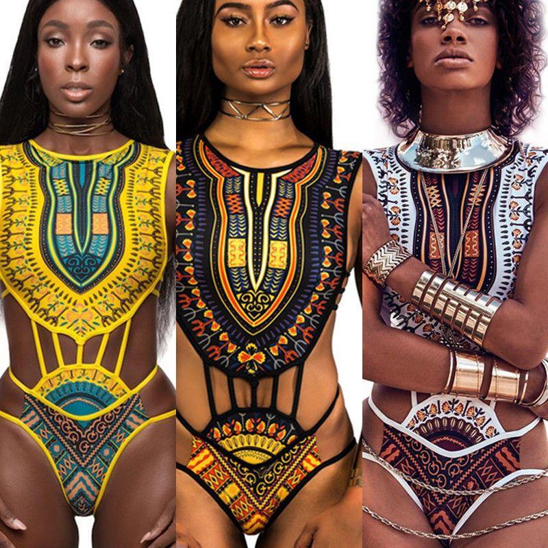 Nuovo 2018 Donne africane Etnica Fringe design Swimwear One Piece Monokini scava fuori Backless costume da bagno giallo Bianco Plus Size