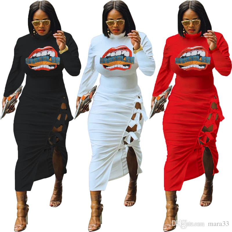 Frauen midi Kleider elegant Herbst Winter lange Röcke Mantel Spalte stylish 1685 reizvolle Verein lange Hülse Partykleid Verband Split aushöhlen