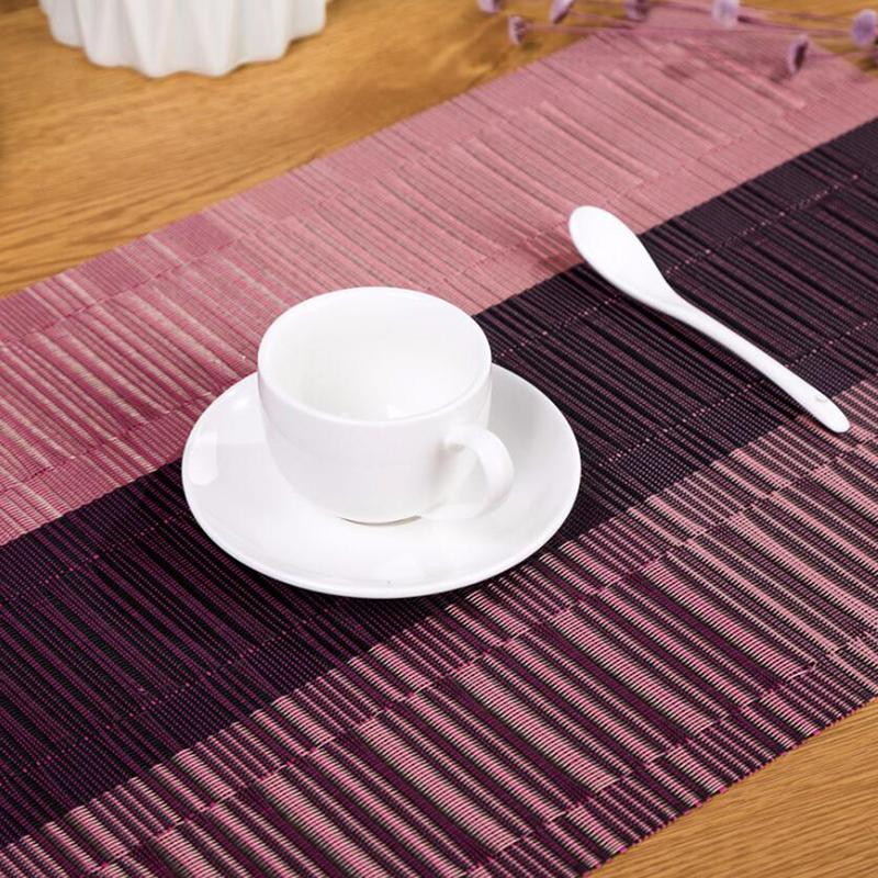 PVC Placemat Environmental Protection Insulation Pad Household High-end Jacquard Bamboo Pattern Waterproof Tablecloth Pad