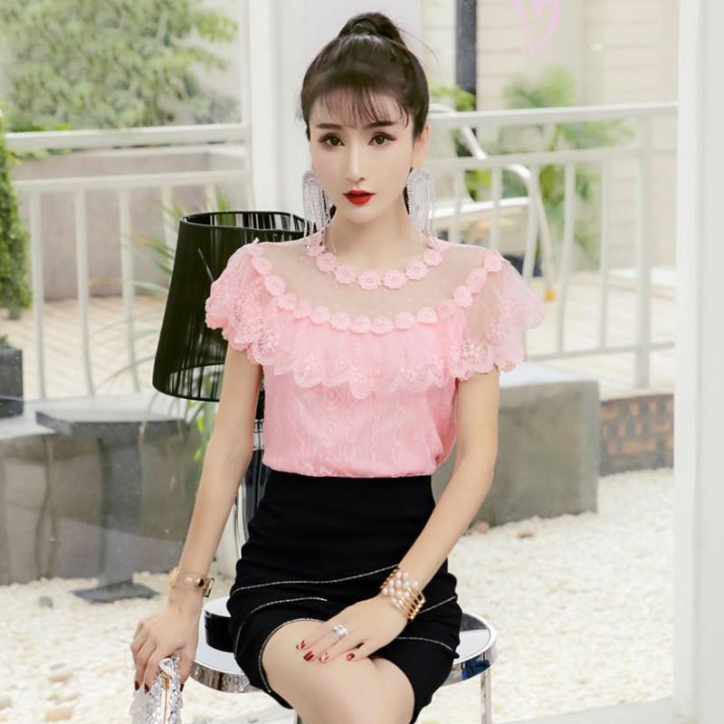Women Hollow Out Lace Shirt 2019 Summer Autumn Sweet Floral Mesh Blouse Female Short Sleeve Ruffles Blouses Blusas Tops AB1469