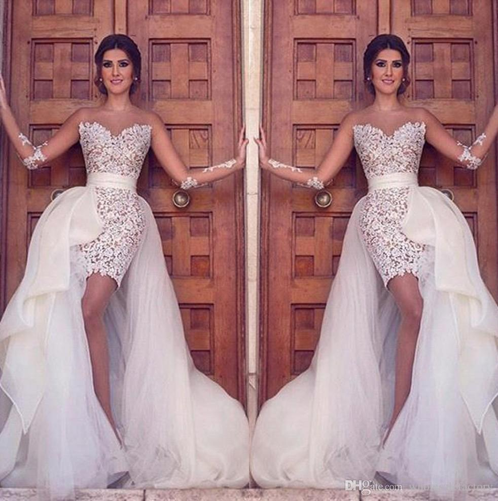 Vintage Full Lace Sheath Over skirts Wedding Dresses Arabic Sheer Illusion Long Sleeves Appliques Sheer Jewel Neck Short Bridal Gowns BA2363