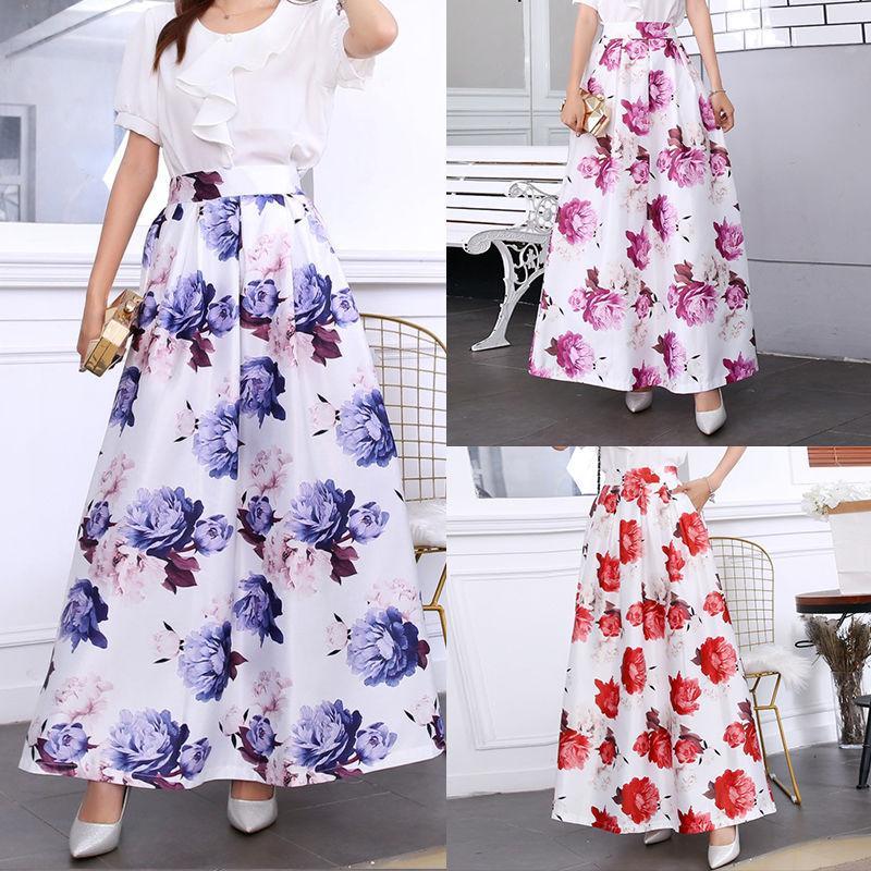 Sommerröcke Womens Flauschiger Rock Hohe Taille Taschen Lange Rock Vintage Blumendruck Blume Maxi Rock Plus Größe Chic 3XL