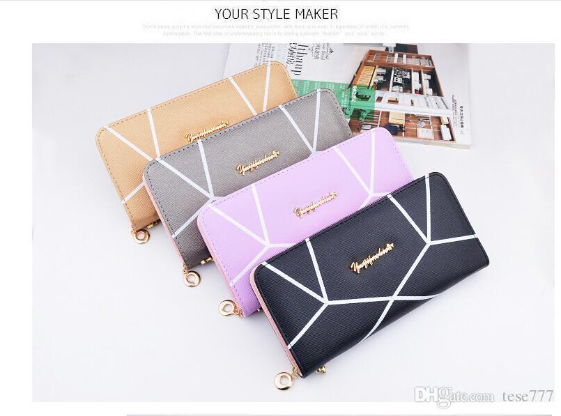 Ucuz Yeni geometrik desen uzun kese bayanlar moda yüksek kapasiteli fermuar cüzdan han baskı el çantası çanta
