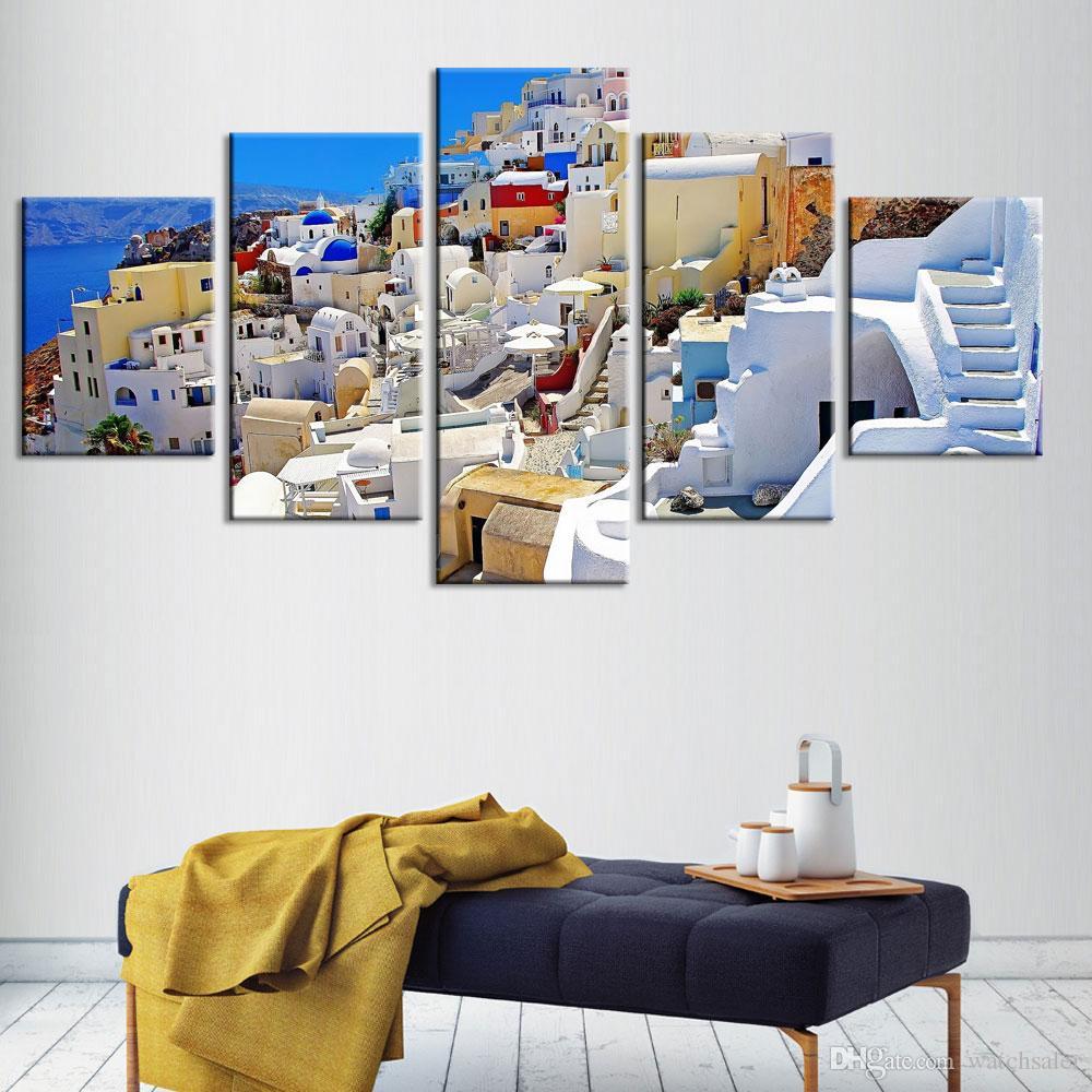 Modular Pictures HD Prints Canvas Painting Greece Santorini Island 5 Pieces Home Decor Building Wall Art Frame Artwork Poster