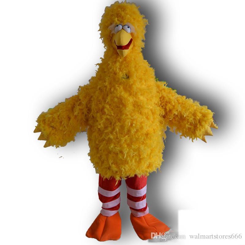 2019 Carácter Big Bird amarillo de dibujos animados traje de la mascota del traje del partido envío
