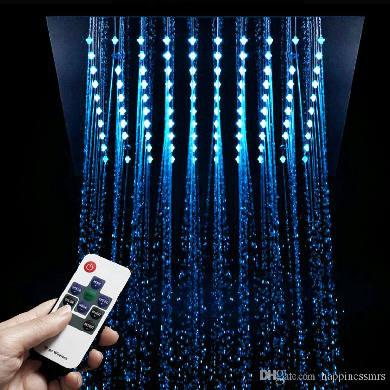 12 Inches bathroom led shower head ceiling with electricity power lights 304sus polish square showerheads 64 colors rainfall led big showers
