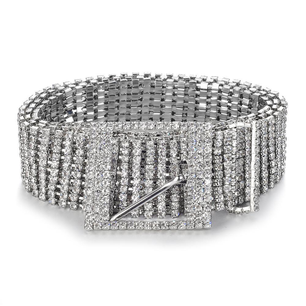 Women Crystal Luxury Diamond Belt Waist Chain Shiny Waistband Full Rhinestone UK