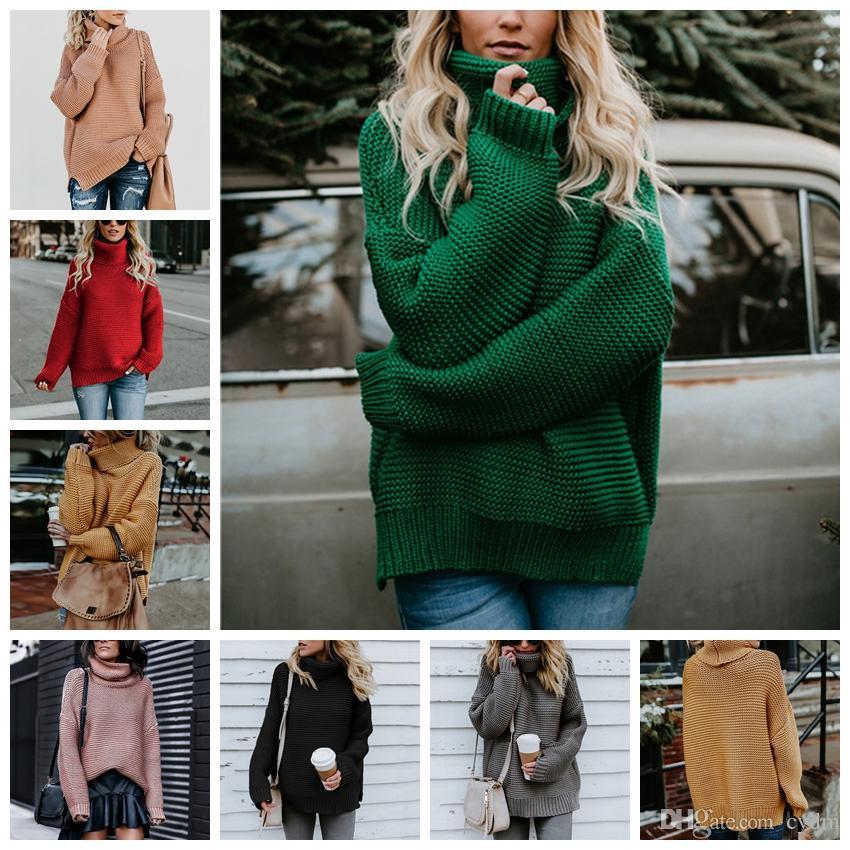 Pull de pull-pull à col épais à manches longues de couleur unie européenne. Rose, jaune, rouge, gris, vert, noir, support mélangé.
