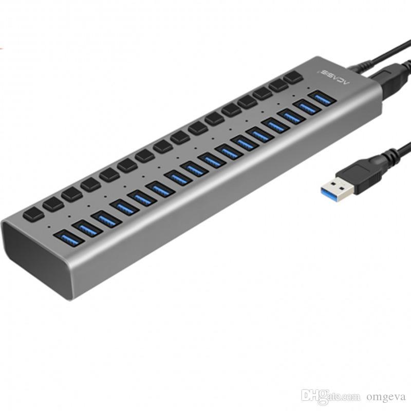 Acasis Hub USB 3.0 de alta velocidad adaptador de alimentación externa 16 Puerto USB HUB de encendido / apagado Cable with12V6A fuente de alimentación para PC portátil MacBook