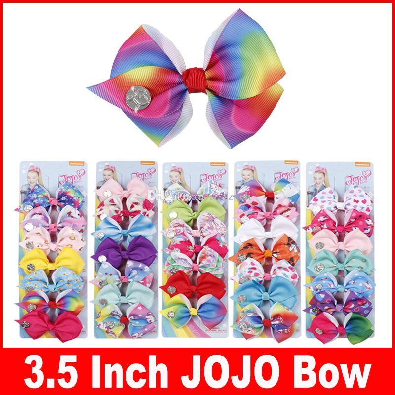 """35 couleur 3.5 """"JOJO cheveux Arc fille colorée impression Barrettes Fille Accessoires De Cheveux Arc-En-Licorne enfants parti cheveux tondeuse Pins 1set = 7pcs"""