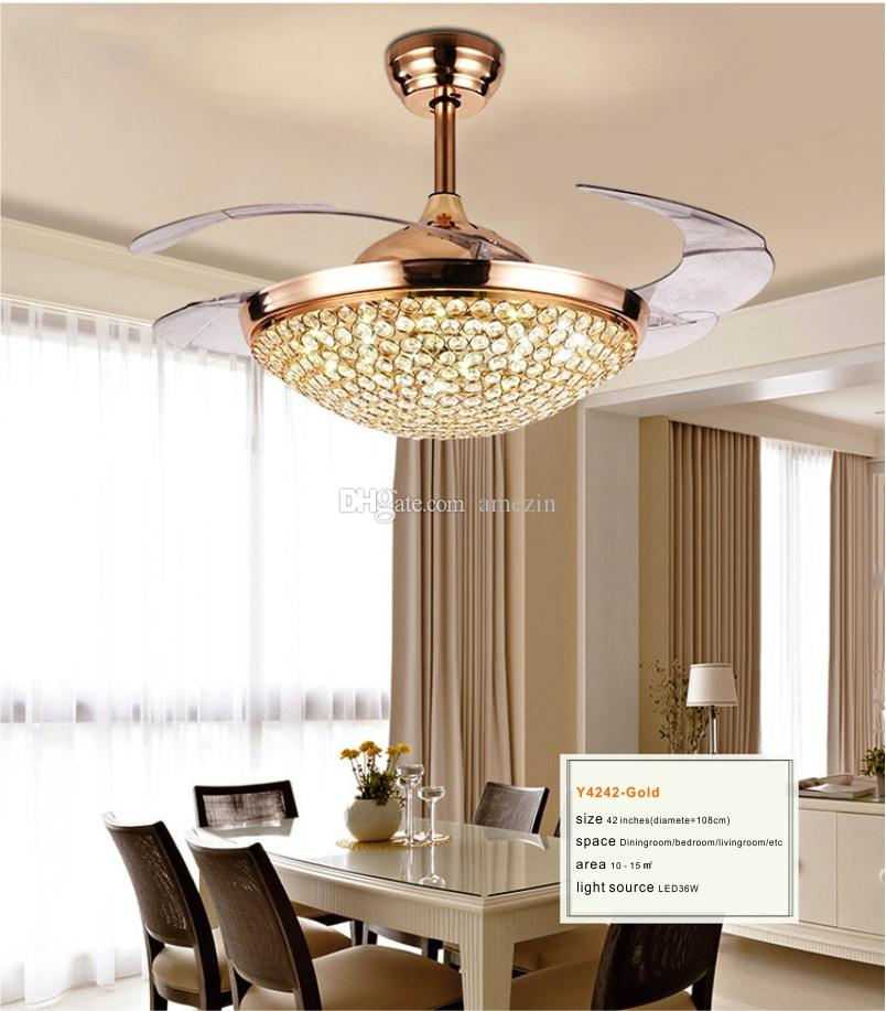 2019 Luxury Modern Crystal Chandelier Ceiling Fan Lamp Folding Ceiling Fans With Retractable 4 Blade Remote Control Lights 42 Inch Fans Light From