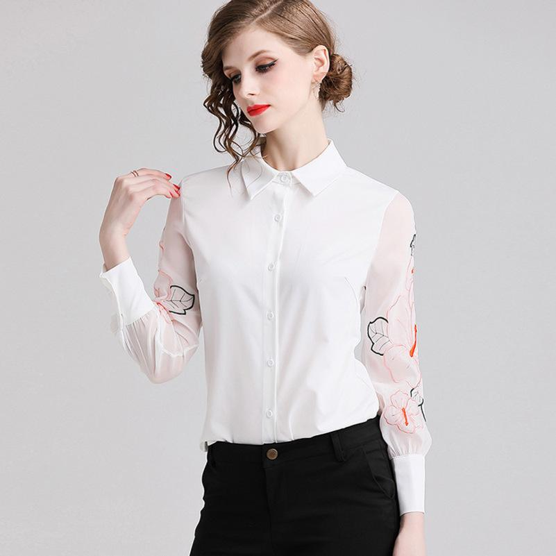 womens designer shirt season loose large size heavy embroidery lapel/POLO collar long sleeve shirt WomenGPU7GPU7