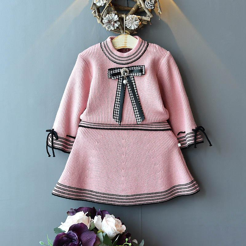 새로운 2019 가을 여자 아기 복장 아기 소녀 의류 스웨터 + 스커트 여자 복장 유아 여자 의류 패션 어린 소녀 의류 A7223