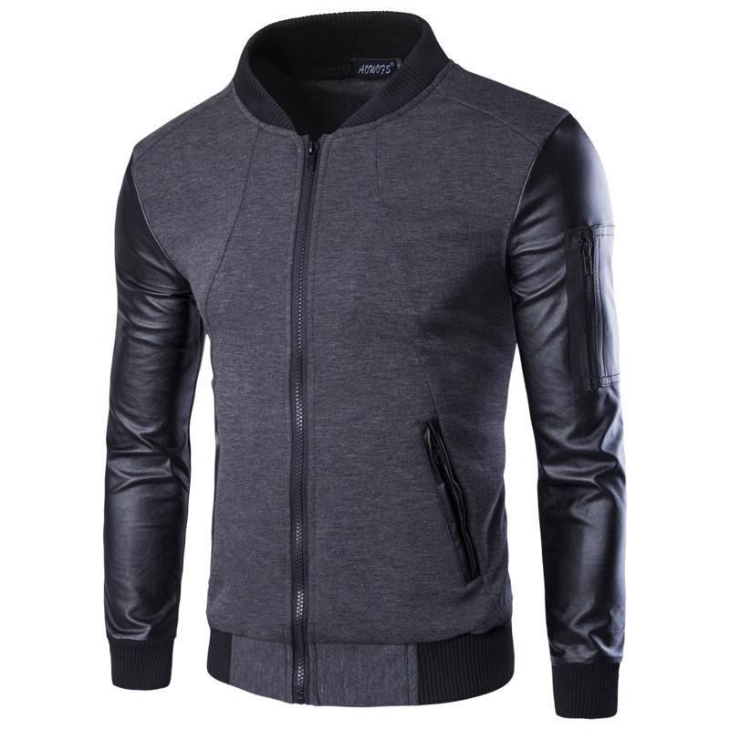 봄 남성 재킷 패션 가죽 소매 패치 워크 야구 재킷 가을 망 PU 폭격기 코트 고품질 슬림 지퍼 가디건