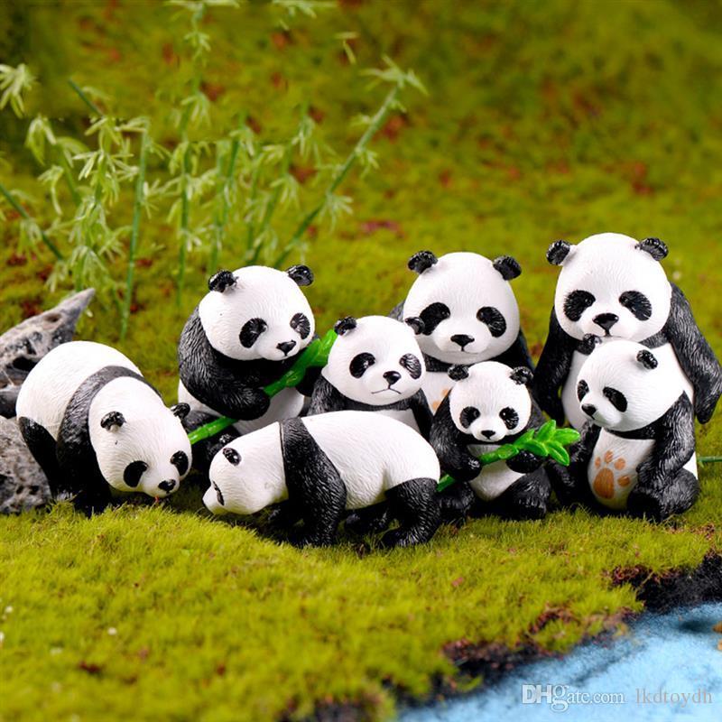 Lindo miniatura Panda Figurita encantos estatua del jardín limo Decoración Mini Fairy Garden Estatuillas resina DIY Craft