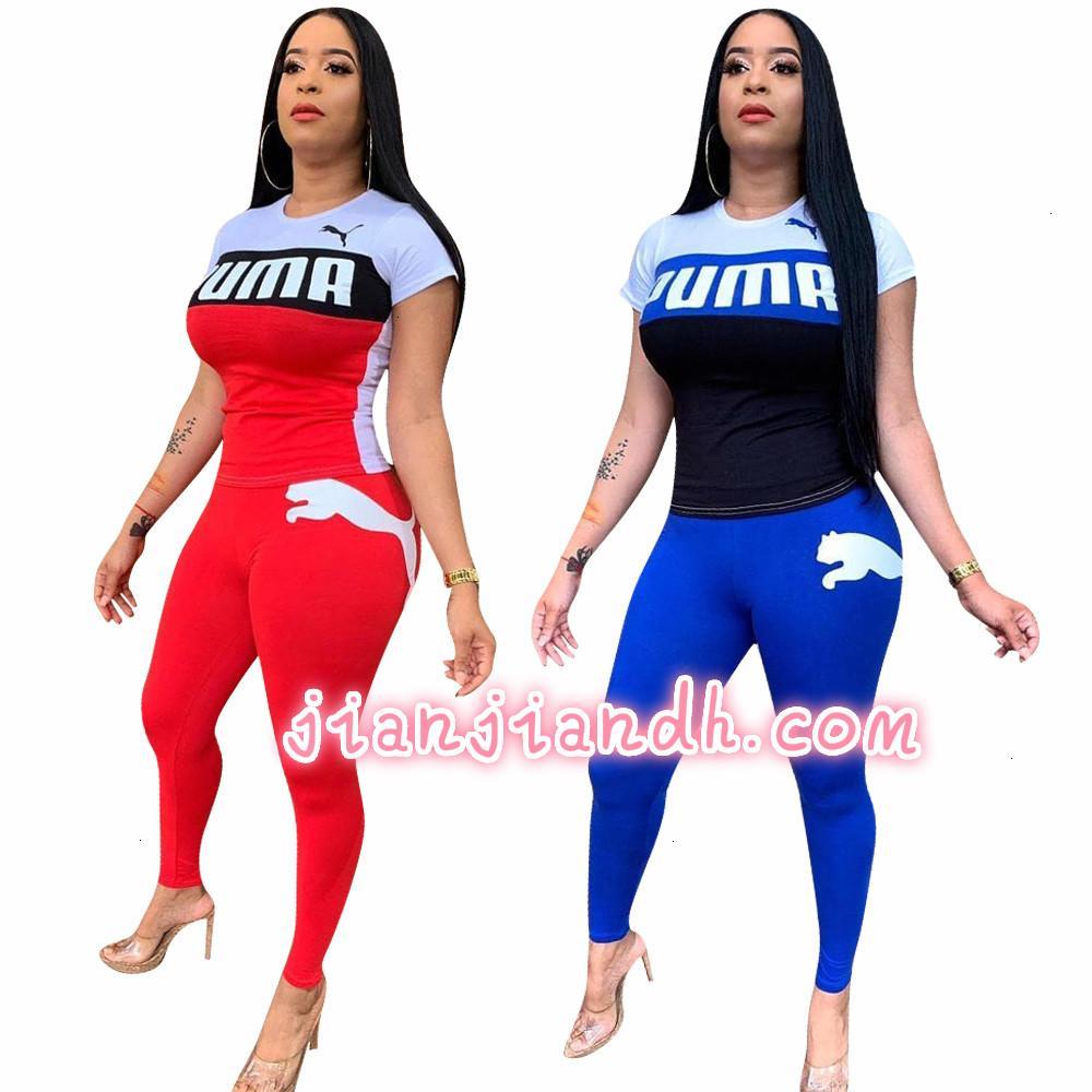 W8211 Женские брюки комплект Европа и США взрывоопасные мода повседневная спорт с коротким рукавом набор из двух частей A22