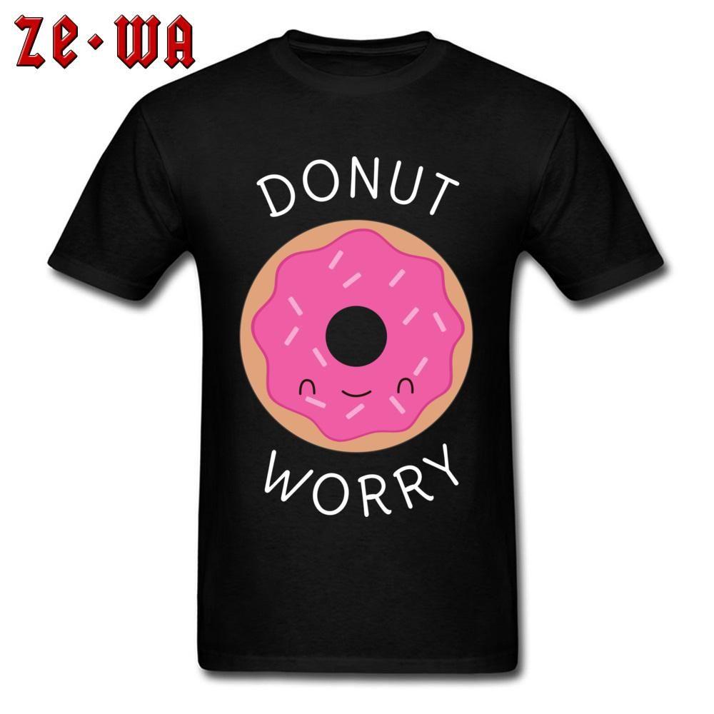Geek En tişörtler Kawaii Donut Endişe T Gömlek Erkekler Hip Hop Tişörtler 2020 En Yeni Erkek Aşıklar Günü Gömlek Yuvarlak Yaka% 100 Pamuklu Giysiler