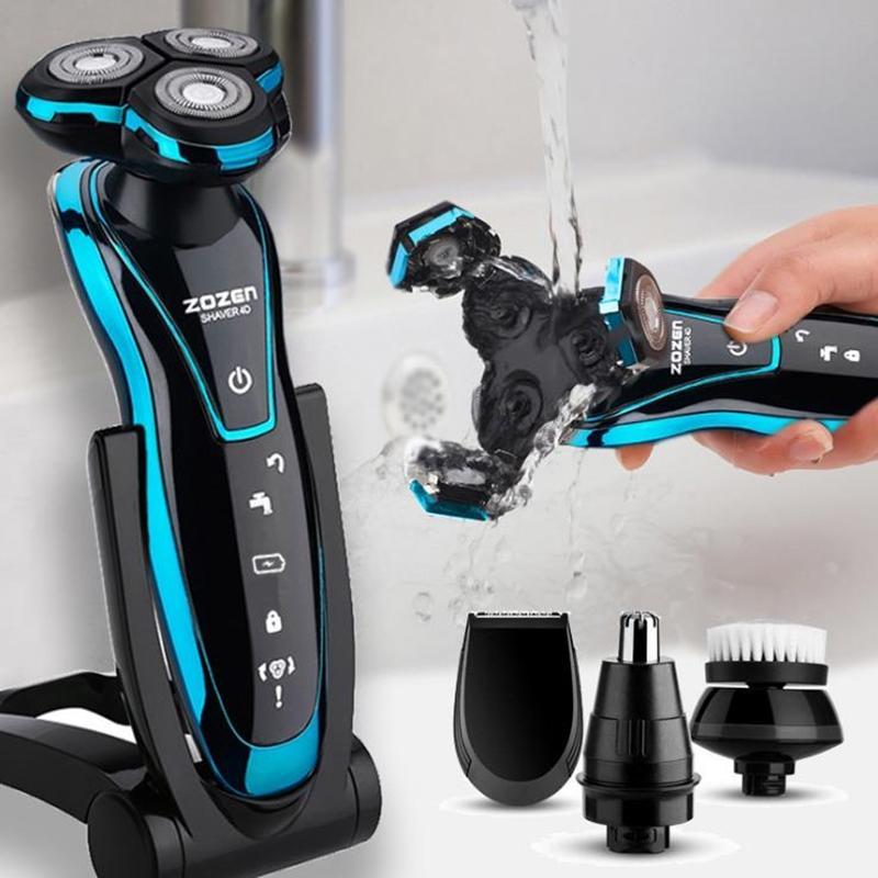 Nuovo rasoio elettrico elettrico ricaricabile Beard Trimmer rasatura Macchina per uomini Beard Razor Wet-Dry doppio uso lavabile