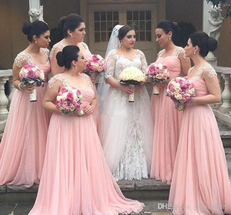 2019 Chiffon Long Bridessaidドレス安いプラスサイズの名誉服の若い女の子レースのブライダル結婚式のパーティーガウン安い習慣