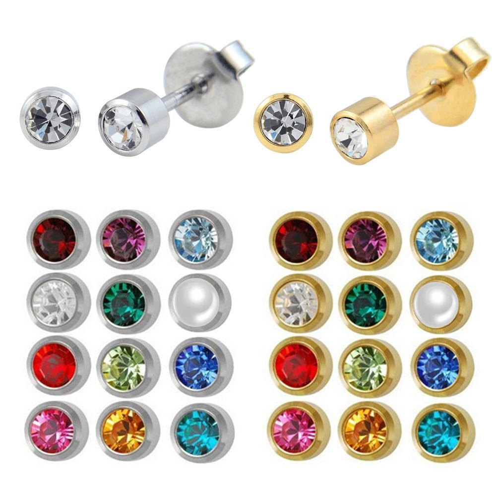 الفولاذ المقاوم للصدأ الكريستال الأذن ثقب الأزرار جوهرة مربط القرط ثقب الجسم مجوهرات الأذن الزنمة اللولب الغضروف 12 أزواج T7190617