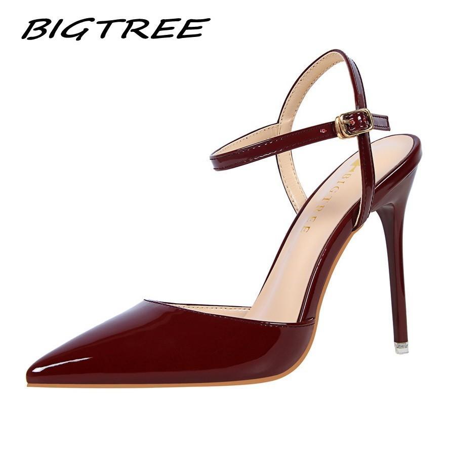 BigTree Женщины насосы обувь женщина на высоких каблуках сандалии Женский сексуальный ремень Ночной Stilettos Свадебное платье партии Slingback обуви