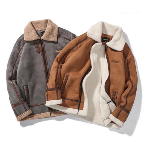 أزياء نمط عارضة ملابس الرجال الخريف مصمم فو الفراء التلبيب كم طويل الرقبة زيبر أوم الملابس