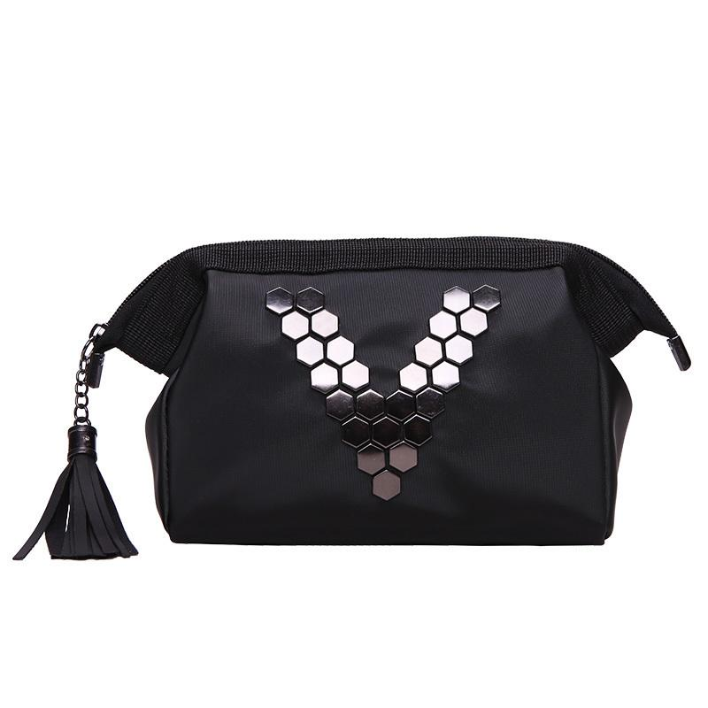 Black Letter Cosmetic Bag Women Travel Zipper Make Up Pu Leather Makeup Case Organizer Storage Pouch Toiletry Wash Kit