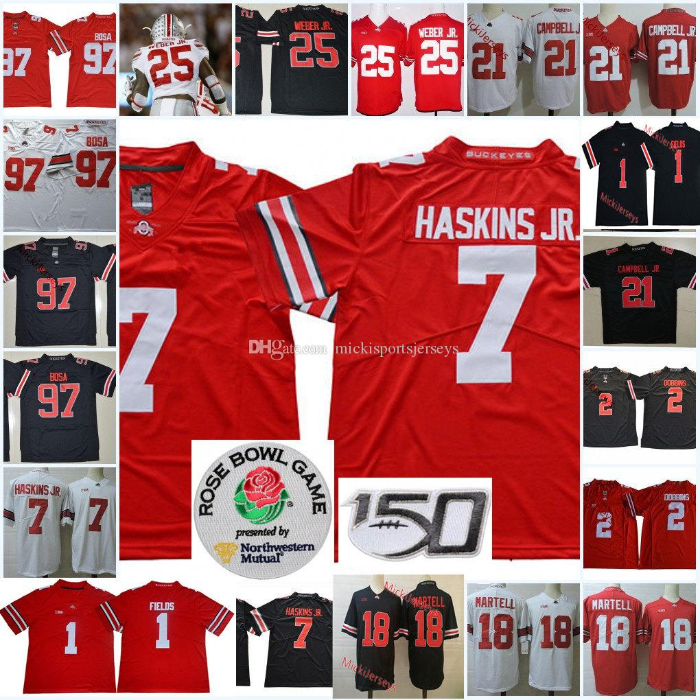Mens Ohio State Buckeyes Dwayne Haskins Futbol Jersey Joey Bosa Jk. Dobbins Ezekiel Elliott J.T Barrett Tate Martell Justin Fields Jersey