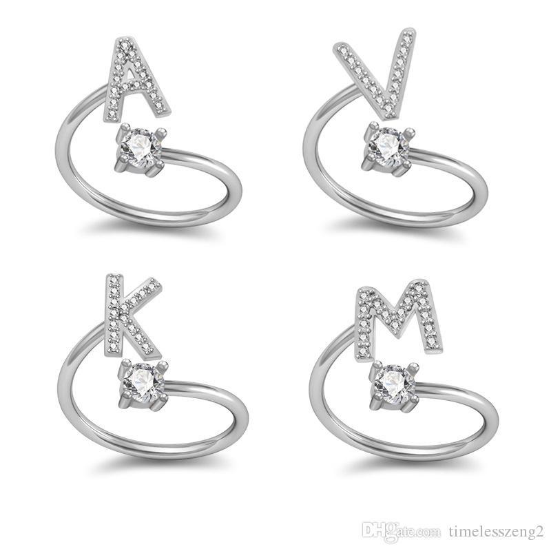 영어 문자 반지 26 편지 디자인 여성 반지 크리스탈 뜨거운 판매 쥬얼리 장식으로 성격 밴드 밴드 밴드