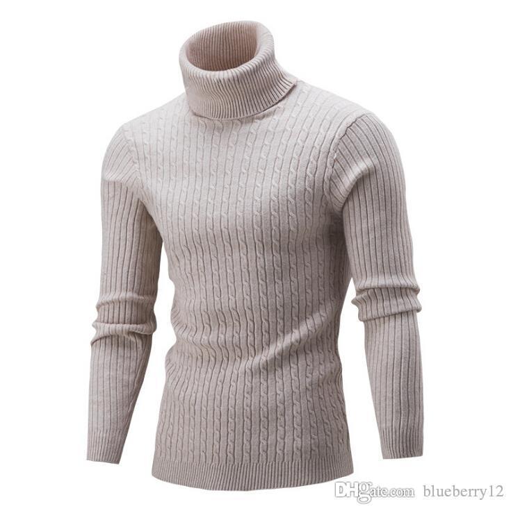 Mens Camisolas Casual 5 cores com nervuras Turtle Neck capuz manga comprida camisola sólida para Outono e Inverno