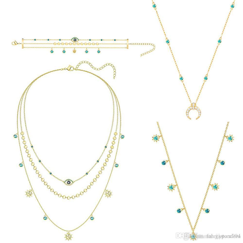 Três Eye HYWo Last Summer Bohemian estilo requintado colar do Diabo camada feminina Clavícula Cadeia banhado a ouro de alta qualidade Jewelr