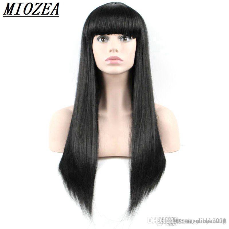 Sentetik Saç Uzun Düz Kadınlar Peruk Yüksek Sıcaklık Fibe Saç Doğal siyah 24inch Peruk