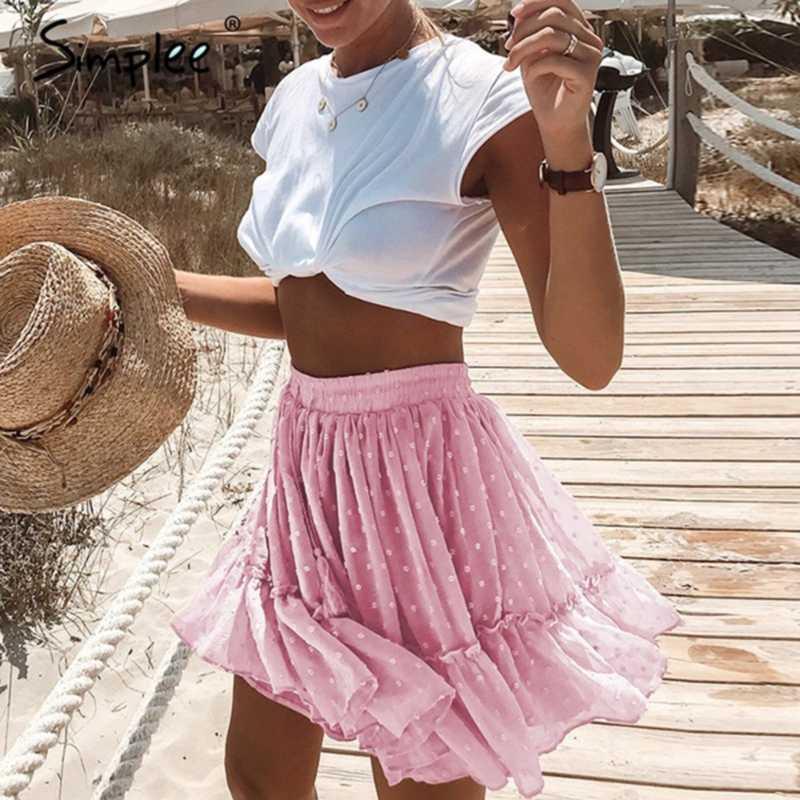 Skirts Summer 2021 Women Short Polka Dot Skirt High Waist Elascity Casual Party Pink Floral Printed Ruffle Chiffon