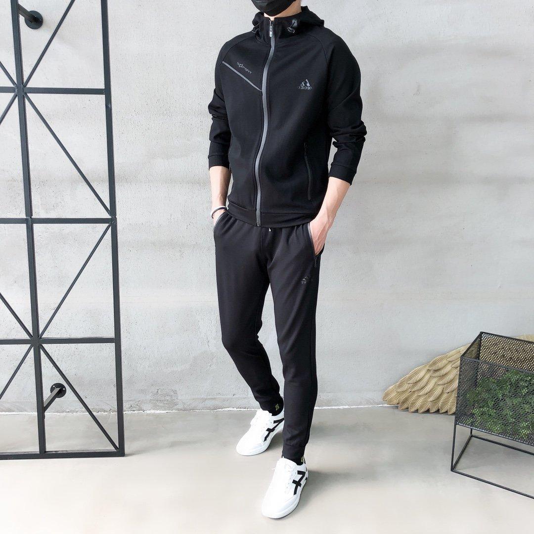 2020 de alta calidad hace a los hombres Deportes blusa + pantalones 2pcs primavera y el otoño Ocio establece Hombres 9S5D ropa