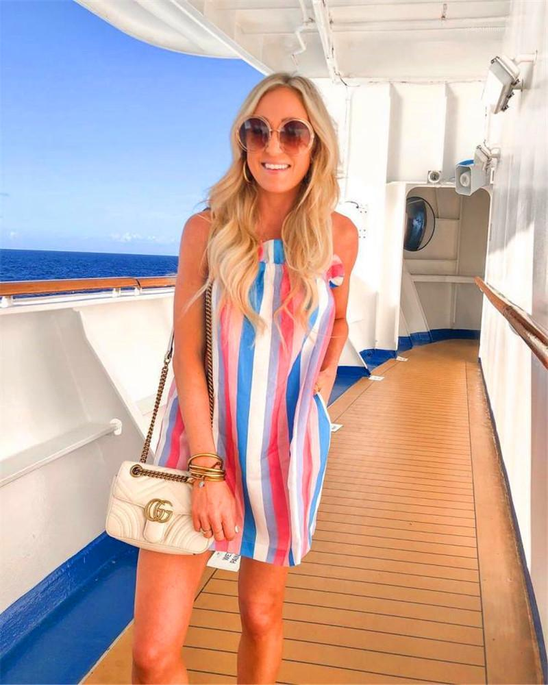 Printed Dresses Sexy Ladies Spaghetti Strap Bohemian Apparel Casual Loose and Comfortable Holidays Sleeveless Dress Summer Women Striped