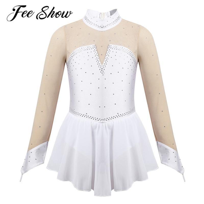Çocuklar Kızlar Şekil Buz Pateni Paten Leotard Elbise Giyim Performans Uzun Kollu Kız Balerin Tutu Bale Elbise