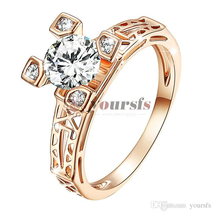Yoursfs Fashion Jewelry 18K Gold Plated Zircon Wedding Bridal Ring Gift