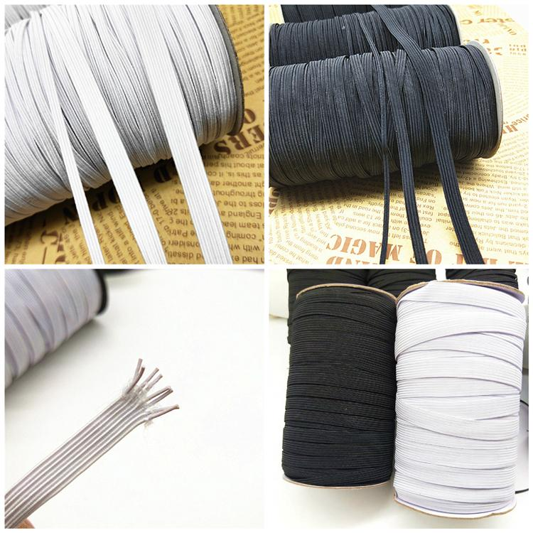 2020 5mm 120 Code Black White Flat Elastic Rope Cuff Mask With