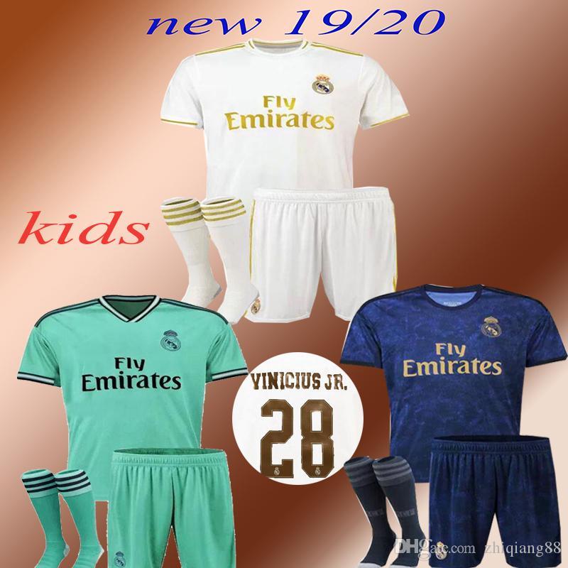 Nouveau 2019 enfants du Real Madrid domicile Maillots de football 19 20 DANGER domicile maillot de football enfants kit MODRIC ASENSIO VINICIUS JR ISCO KROOS uniforme de football