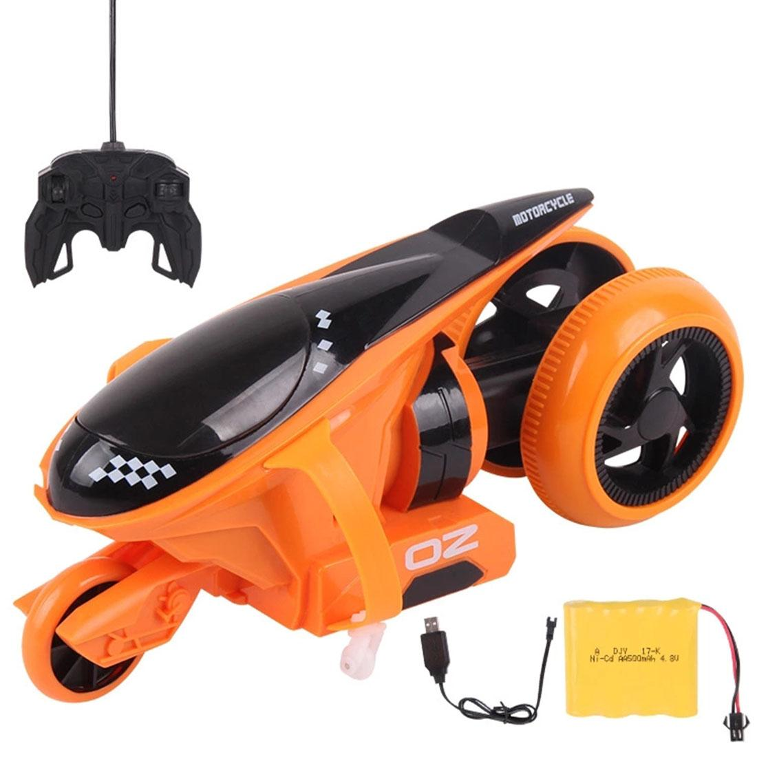90 Degree 2.4G Rear Wheel Rotation Cool Light Vehicle High-Speed Drift RC Motorcycle for Children Remote Control Toys- Orange