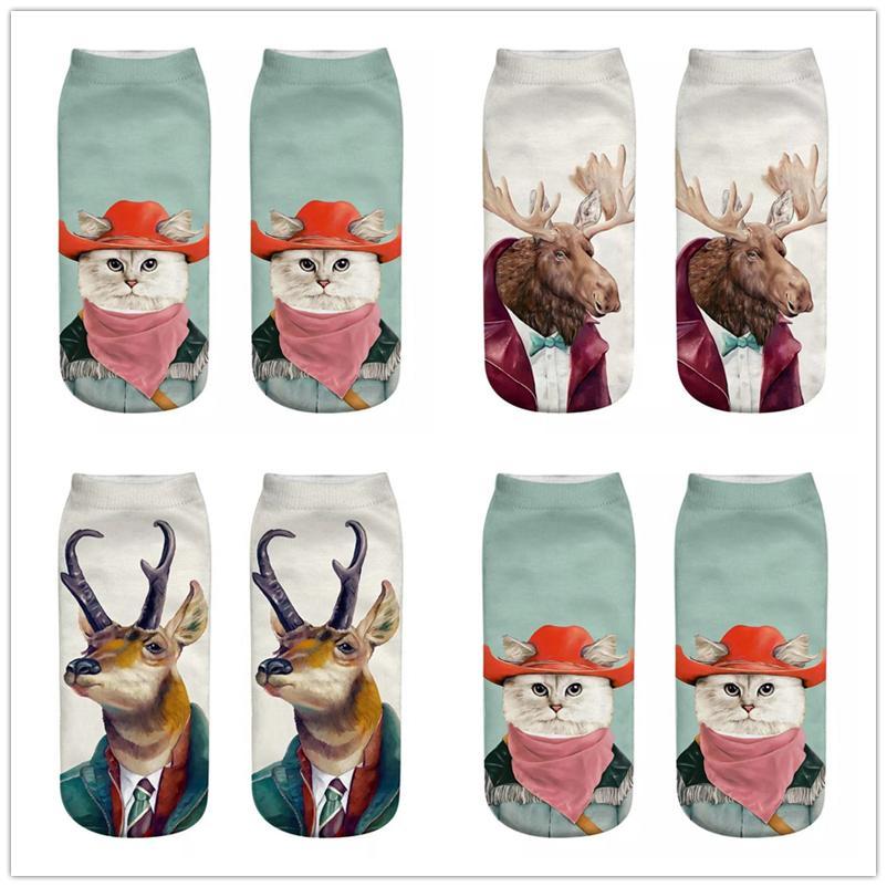 хип-хоп 3D животное печать носки для мужчин женщин роскоши дизайнера кошка тапочка носки животного натяжного спортивных тренажерного зала лодыжка носок тапочки подарок EUR 35-44