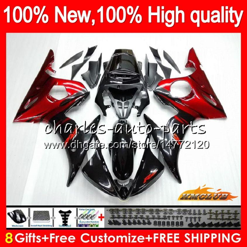 Kit de corps pour Yamaha YZF600 Red Flames Nouveau YZF 600 R 6 600CC YZF R6 03-05 59HC.3 YZF-R6 YZF-600 YZFR6 03 04 05 2003 2004 2004 2005 FAIREING + 8GIFTS